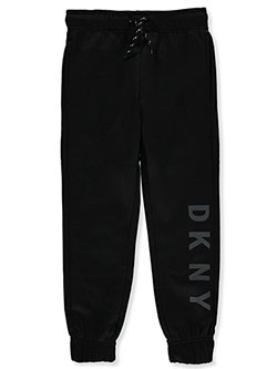 Boys' Vertical Logo Joggers by DKNY in black and dark gray