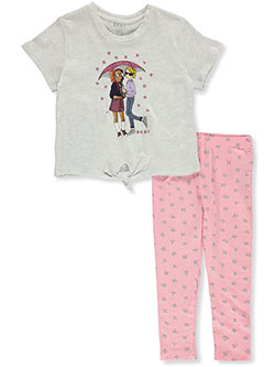 Girls' 2-Piece Leggings Set Outfit by DKNY in White heather