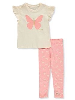 Girls' 2-Piece Leggings Set Outfit by DKNY in Ivory