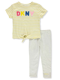 Girls' 2-Piece Leggings Set Outfit by DKNY in Bright white