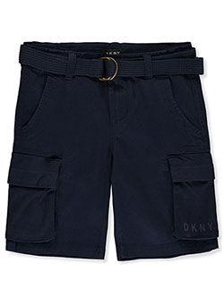 Boys' Belted Twill Cargo Shorts by DKNY in black, gray, khaki and olive, Boys Fashion