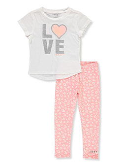 Girls' 2-Piece Leggings Set Outfit by DKNY in Off white
