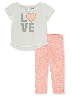 Girls' 2-Piece Love Leggings Set Outfit by DKNY in Off white, Infants