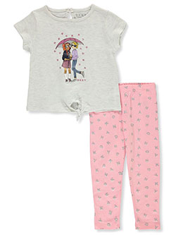 Girls' 2-Piece Rainy Leggings Set Outfit by DKNY in White heather, Infants