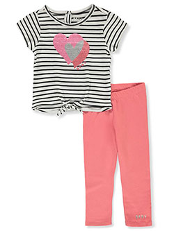 Girls' 2-Piece Hearts Leggings Set Outfit by DKNY in Rose, Infants