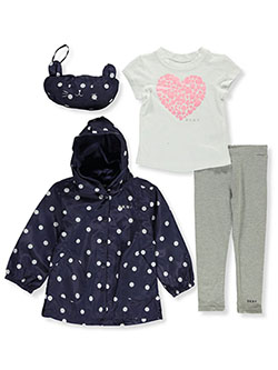 Girls' 4-Piece Raincoat Set Outfit by DKNY in Green, Girls Fashion