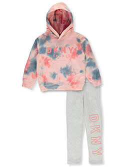 Girls' 2-Piece Leggings Set Outfit by DKNY in heather gray and pink, Girls Fashion