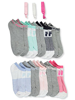 Girls' 10-Pack Ankle Socks with Hair Ties by Fila in White