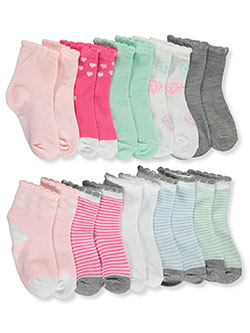 Baby Girls' 10-Pack Quarter Crew Socks by Kensie in Multi