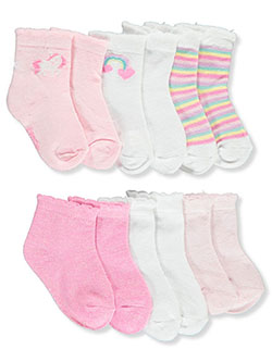 Baby Girls' 6-Pack Quarter Crew Socks by Kensie in Multi