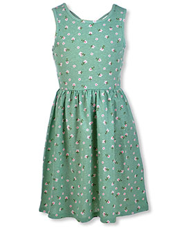 Girls' Floral Dress by Freestyle Revolution in Olive