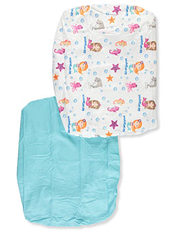 2-Pack Fitted Crib Sheets by Everyday Kids in Aqua/white, Infants