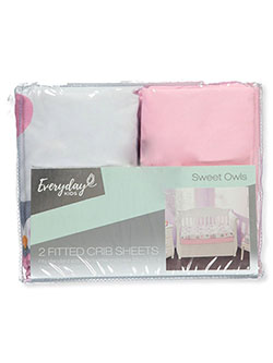 2-Pack Fitted Crib Sheets by Everyday Kids in Pink/white, Infants