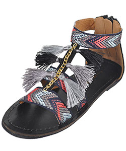 "Eddie Marc Girls' ""Tribal Tassel"" Sandals (Youth Sizes 13 – 4) - CookiesKids.com"