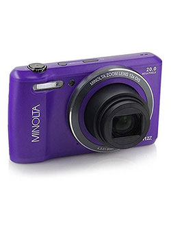 20 Mega Pixels Hd Digital Camera W/12X Optical Zoom in Purple by Minolta in Purple
