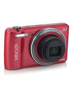 20 Mega Pixels Hd Digital Camera W/12X Optical Zoom in Red by Minolta in Red