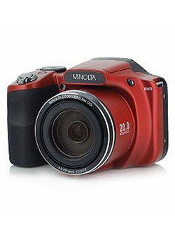 20 Mega Pixels 1080Phd Bridge Digital Camera W/35X Optical Zoom in Red by Minolta in Red