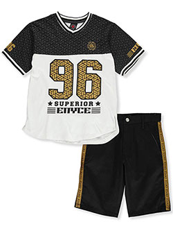 Boys' 2-Piece Shorts Set Outfit by Enyce in Black/white