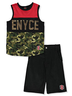 Boys' 2-Piece Shorts Set Outfit by Enyce in Black/red