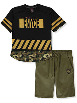 Boys' 2-Piece Shorts Set Outfit by Enyce in Green camo multi