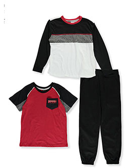 Boys' Crackled Trim 3-Piece Pants Set Outfit by Enyce in Red/black, Boys Fashion