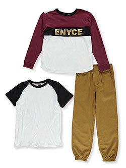 Boys' Metallic Logo 3-Piece Pants Set Outfit by Enyce in Burgundy multi, Boys Fashion