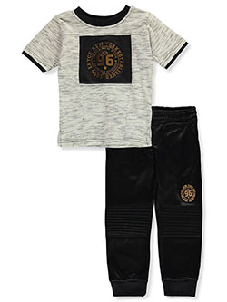 Marbled 3D Block 2-Piece Pants Set Outfit by Enyce in Black, Infants