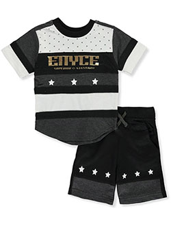 Color block Stars 2-Piece Shorts Set Outfit by Enyce New York in Black multi, Infants