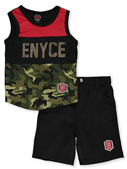 Logo Camo 2-Piece Shorts Set Outfit by Enyce New York in Red/black, Infants