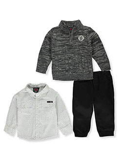 Rib Knit 3-Piece Joggers Set Outfit by Enyce in White/multi, Infants