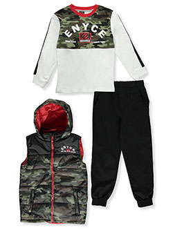 Boys' Camo Vest 3-Piece Joggers Set Outfit by Enyce in Multi, Sizes 8-20
