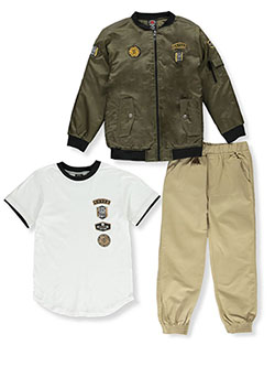 Military Patch 3-Piece Joggers Set Outfit by Enyce in Multi