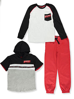 Raglan Patch 3-Piece Joggers Set Outfit by Enyce in Multi, Sizes 8-20