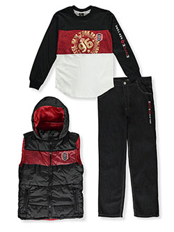 Boys' Paneled 3-Piece Jeans Set Outfit by Enyce in Multi, Boys Fashion