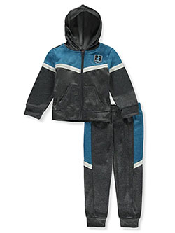 Boys' Panel 23 2-Piece Sweatsuit Outfit by Quad Seven in blue and red