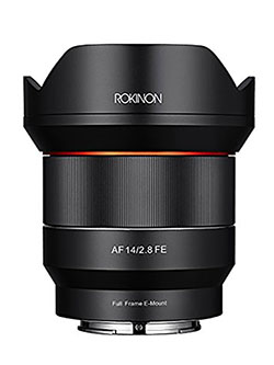 14mm F2.8 Full Frame Auto Focus Lens for Sony E-Mount, Black by Rokinon