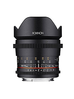 16mm T2.6 Full Frame Cine Wide Angle Lens for Canon EF, Black by Rokinon