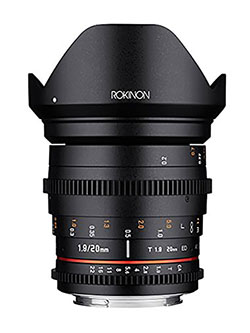 20mm T1.9 Cine DS AS ED UMC Wide Angle Cine Lens for Canon EF by Rokinon