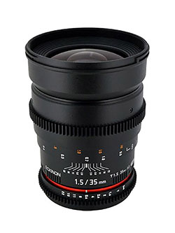 Cine CV35-C 35mm T1.5 Aspherical Wide Angle Cine Lens with De-Clicked Aperture for Canon EOS by Rokinon