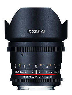 DS10M-NEX 10mm T3.1 Cine Wide Angle Lens for Sony Alpha E-Mount Interchangeable Lens Cameras by Rokinon