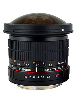 HD8M-C 8mm f/3.5 HD Fisheye Lens with Removeable Hood for Canon DSLR 8-8mm, Fixed-Non-Zoom L by Rokinon