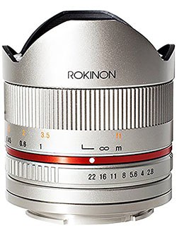 RK8MS-E 8mm F2.8 Series 2 Fisheye Lens for Sony E Cameras, Silver by Rokinon