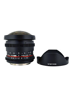 Cine SYHD8MV-N HD 8mm t/3.8 Fisheye Lens with De-Clicked Aperture and Removable Hood Fixed L by Samyang