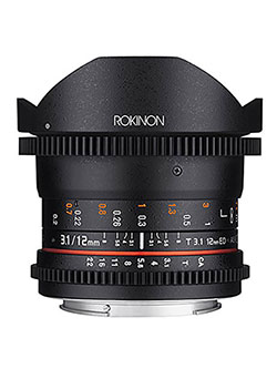 Cine DS 12mm T3.1 Ultra Wide Cine Fisheye Lens for Canon EOS EFDSLR Cameras by Rokinon in Black
