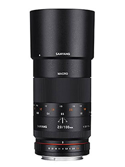100mm F2.8 ED UMC Full Frame Telephoto Macro Lens for Canon EF Digital SLR Cameras by Samyang in Black