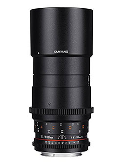 VDSLR II 100mm T3.1 ED UMC Full Frame Macro Telephoto Cine Lens for Nikon Digital SLR Camera by Samyang in Black