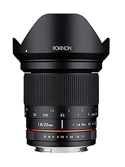 20mm f/1.8 AS ED UMC Wide Angle Lens with Built-in AE Chip for Nikon by Rokinon in Black