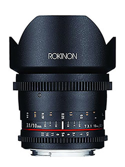 DS10M-N 10mm T3.1 Cine Wide Angle Lens for Nikon Digital SLR by Rokinon in Black