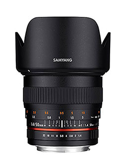 SY50M-P Standard Fixed Prime 50mm F1.4 Lens for Pentax DSLR Cameras by Samyang in Black