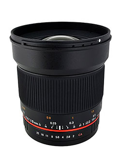 16M-M 16mm f/2.0 Aspherical Wide Angle Lens for Canon M-Mount by Rokinon in Black